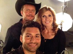 J.J. Phillips with Will Chase (l) and Connie Britton on the set of